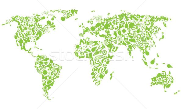 Zdjęcia stock: Mapie · świata · eco · ikona · domu · strony · Motyl