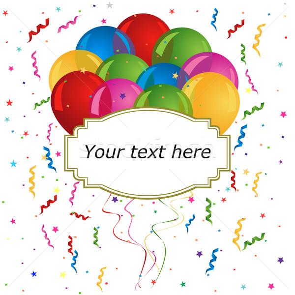 Stockfoto: Ballonnen · kaarten · uitnodigingen · tekst · ruimte · partij