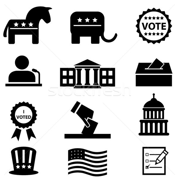 Election and voting icon set Stock photo © soleilc
