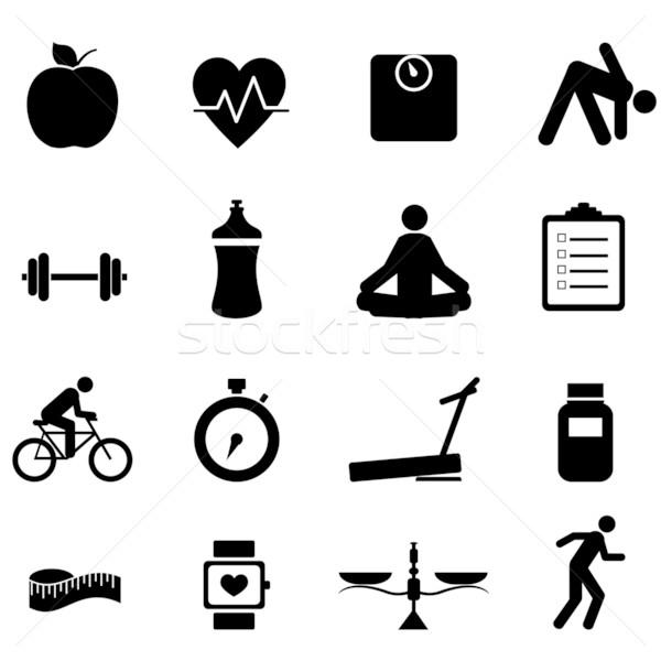 Fitnessz diéta ikonok ikon gyűjtemény fekete alma Stock fotó © soleilc