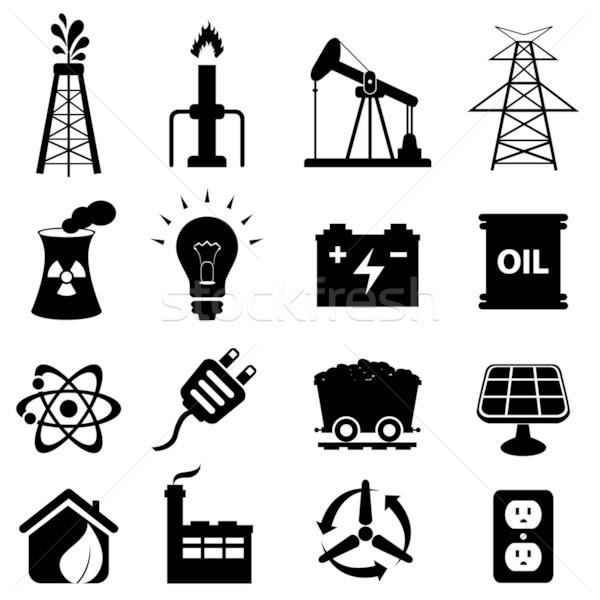 Energia ikon gyűjtemény olaj otthon technológia felirat Stock fotó © soleilc