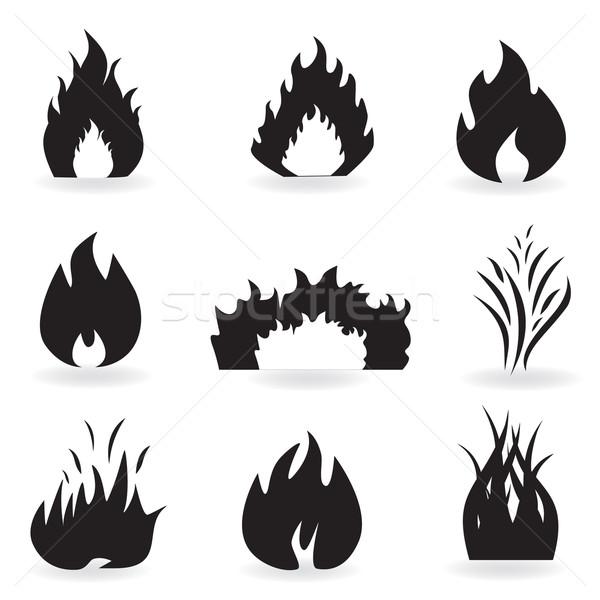 Сток-фото: пламени · огня · иконки · черный · горячей