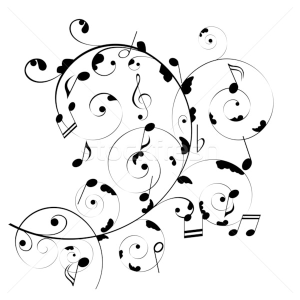 Hangjegyek zene háttér sziluett kotta spirál Stock fotó © soleilc