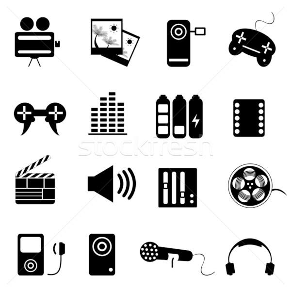 Media related icon set Stock photo © soleilc