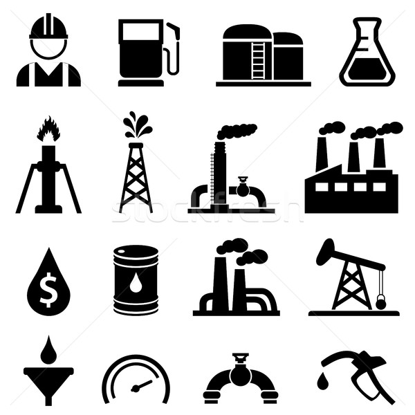 Oil and petroleum icon set Stock photo © soleilc