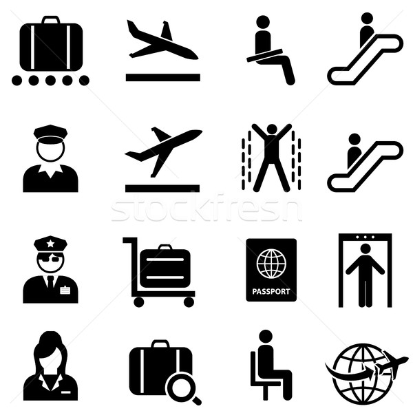 Airport and airplane travel web icon set Stock photo © soleilc