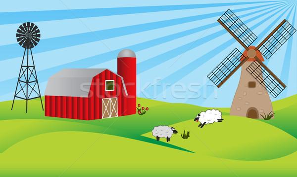 Farmland with barn and windmill Stock photo © soleilc