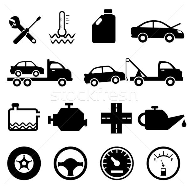 Autó szerelő karbantartás ikonok javítás ikon gyűjtemény Stock fotó © soleilc