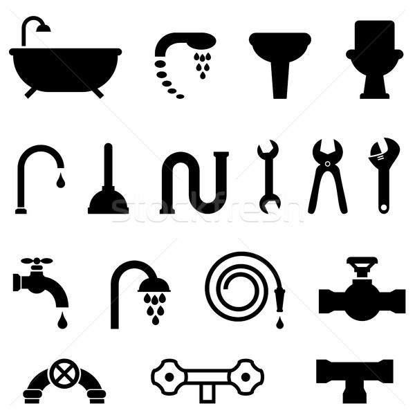 Encanamento banheiro ícones cozinha construção Foto stock © soleilc