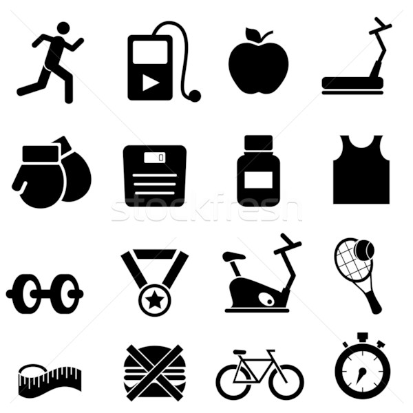 Stock photo: Fitness, health and diet icons