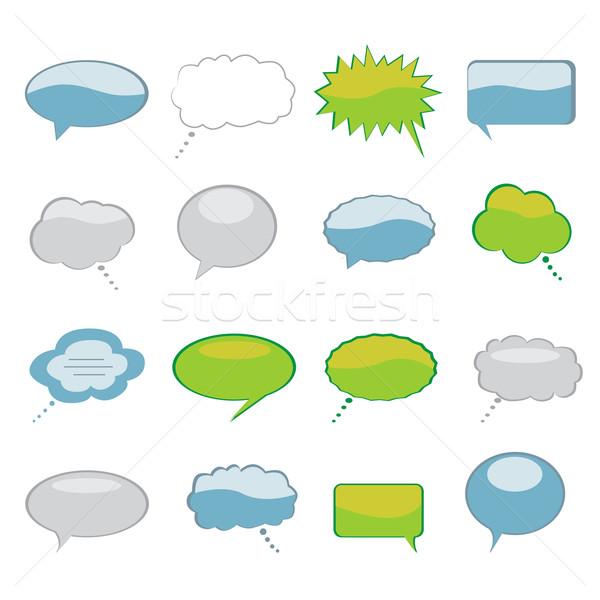 Discurso pensamento bubbles conjunto desenho animado Foto stock © soleilc