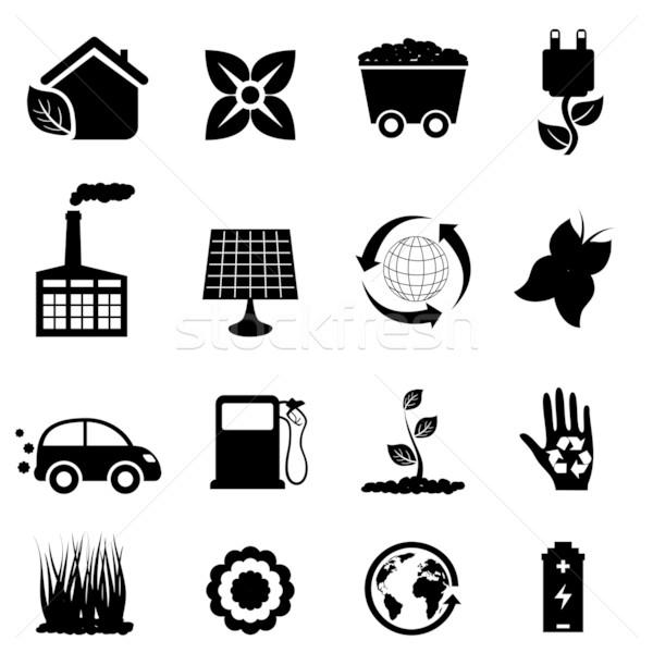 Zdjęcia stock: środowiska · eco · ikona · czarny · kwiat · samochodu