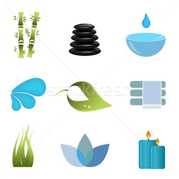 Spa items icon set Stock photo © soleilc