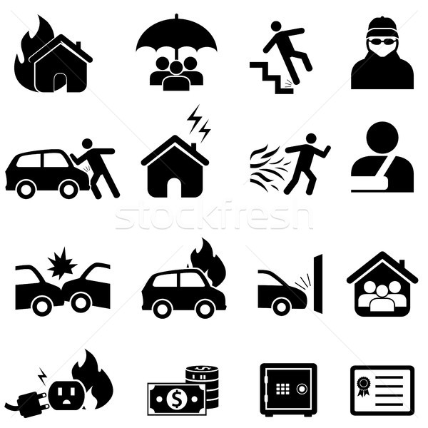 Insurance and disaster icon set Stock photo © soleilc