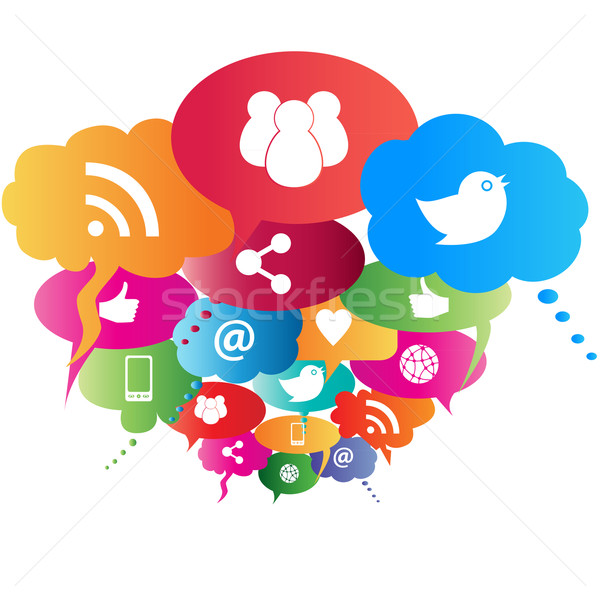 Social network symbols Stock photo © soleilc