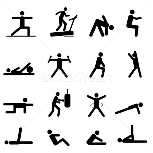 Uygunluk egzersiz simgeler siyah sağlık Stok fotoğraf © soleilc