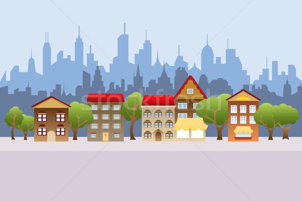 Suburban houses and city Stock photo © soleilc