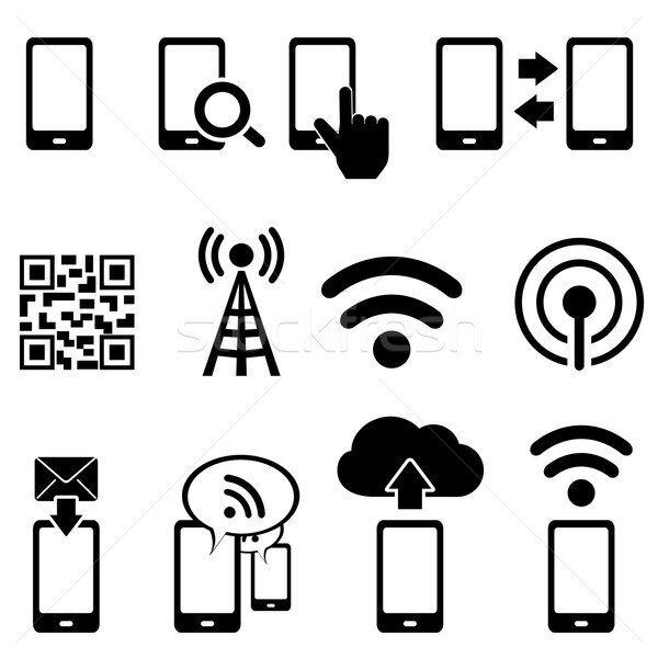Mobile and wifi icon set Stock photo © soleilc