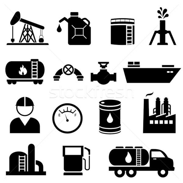Olaj kőolaj ikon gyűjtemény fekete felirat ipar Stock fotó © soleilc
