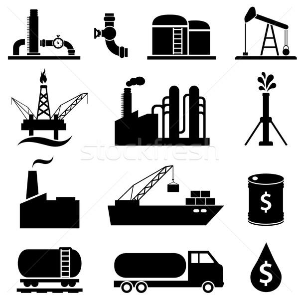 Olio benzina petrolio industria icone Foto d'archivio © soleilc