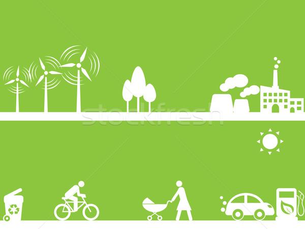 Чистая энергия дерево природы Мир матери промышленности Сток-фото © soleilc