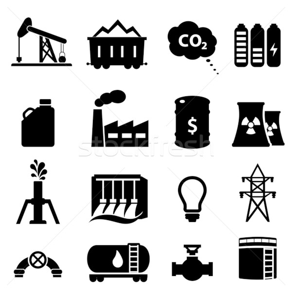 Oil and energy icon set Stock photo © soleilc