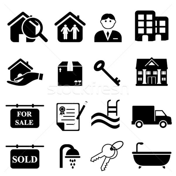 Imóveis ícones preto família casa Foto stock © soleilc