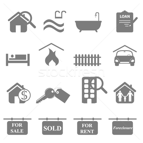 Real estate icons Stock photo © soleilc