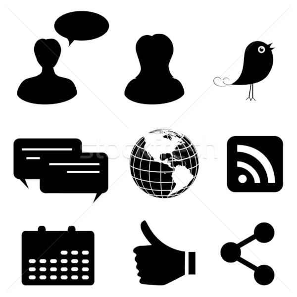Social media sieci mediów ikona strony Zdjęcia stock © soleilc