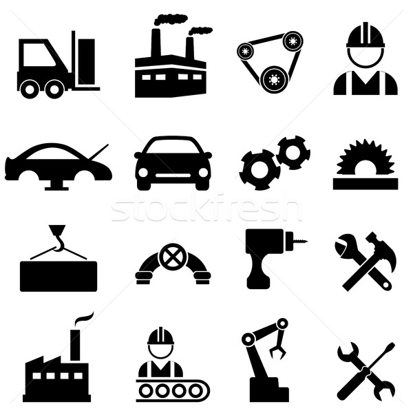Factory and industry icons Stock photo © soleilc