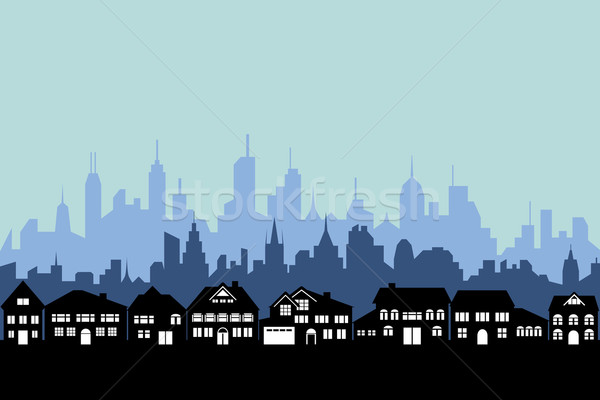 Suburbs and urban city Stock photo © soleilc
