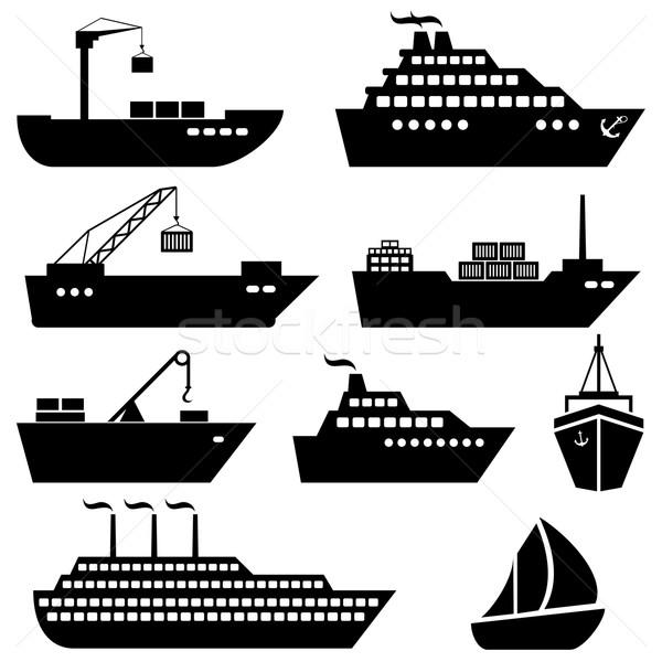 Schepen boten vracht logistiek scheepvaart iconen Stockfoto © soleilc