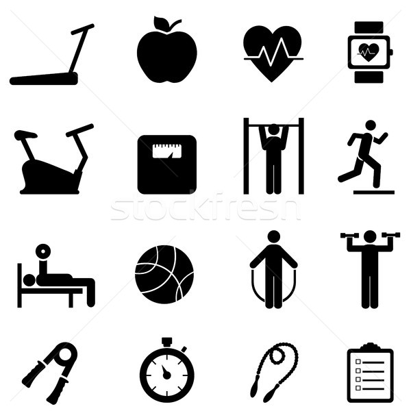 Fitness, diet and healthy life icons Stock photo © soleilc