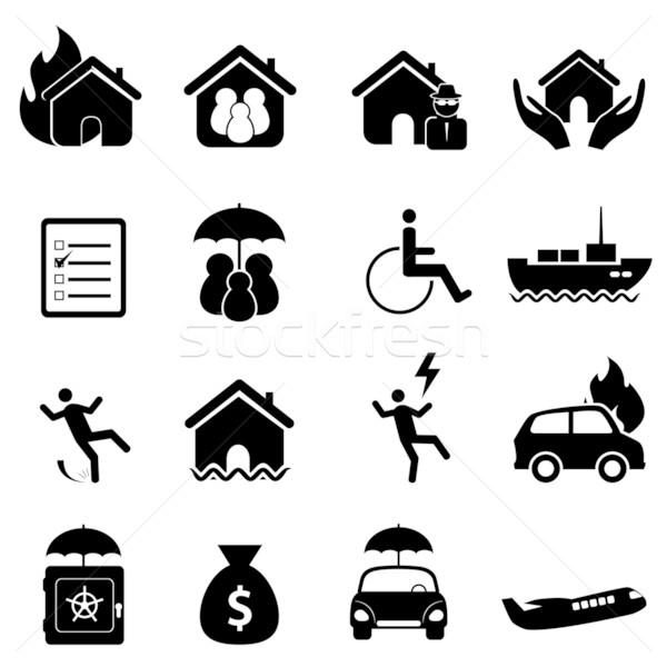Insurance icon set Stock photo © soleilc