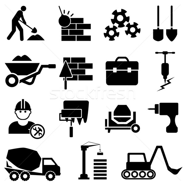 Construction and machinery icons Stock photo © soleilc