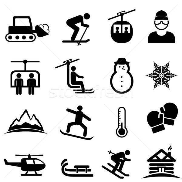 Ski, winter sports and snow icons Stock photo © soleilc