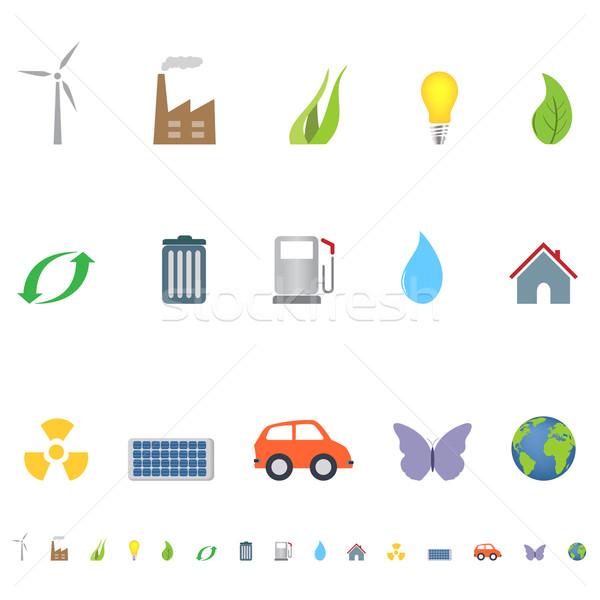 Eco símbolos ícones ambiente grama borboleta Foto stock © soleilc