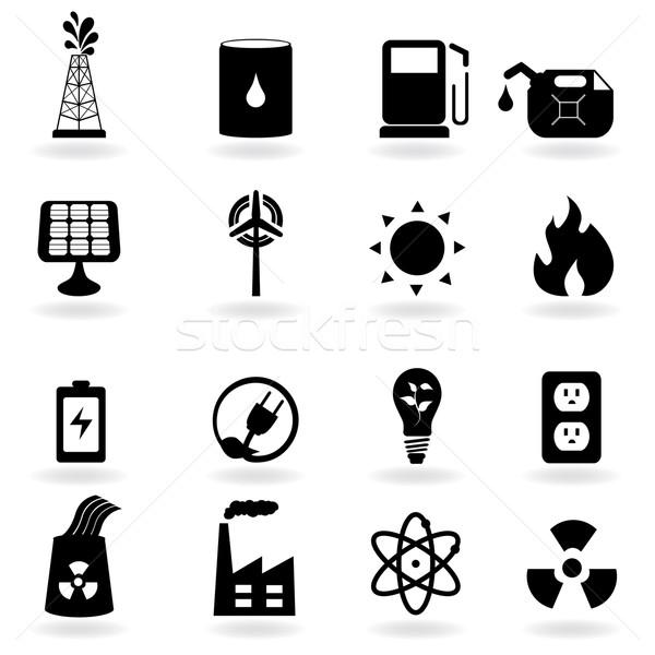 Эко Чистая энергия среде иконки огня знак Сток-фото © soleilc
