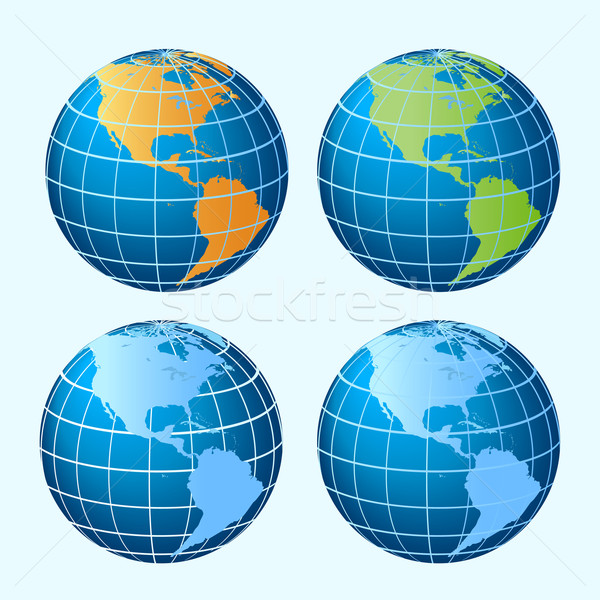 Globes showing America continents Stock photo © soleilc