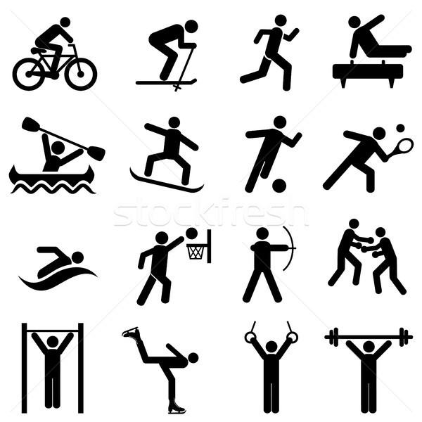 Sport fitness activiteit oefening iconen web icon Stockfoto © soleilc