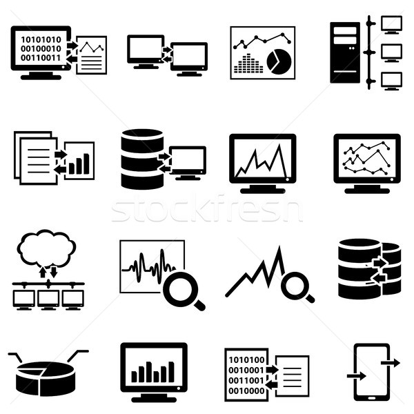 Big data, computer and cloud computing web icons Stock photo © soleilc
