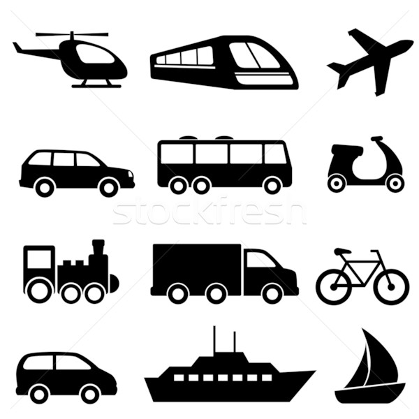 Stock photo: Transportation icons in black