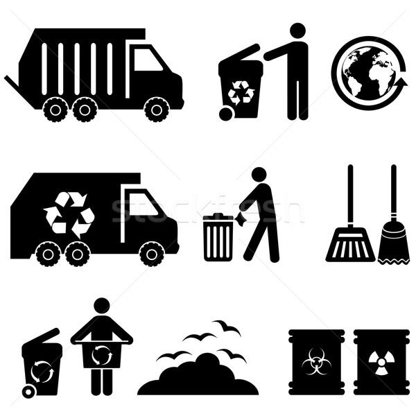 Basura basura iconos residuos mundo Foto stock © soleilc