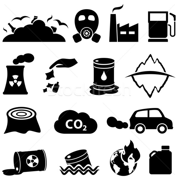 Pollution and environment icons Stock photo © soleilc
