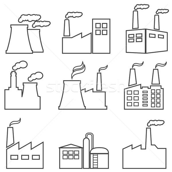Zdjęcia stock: Przemysłowych · budynków · line · ikona · jądrowej · roślin