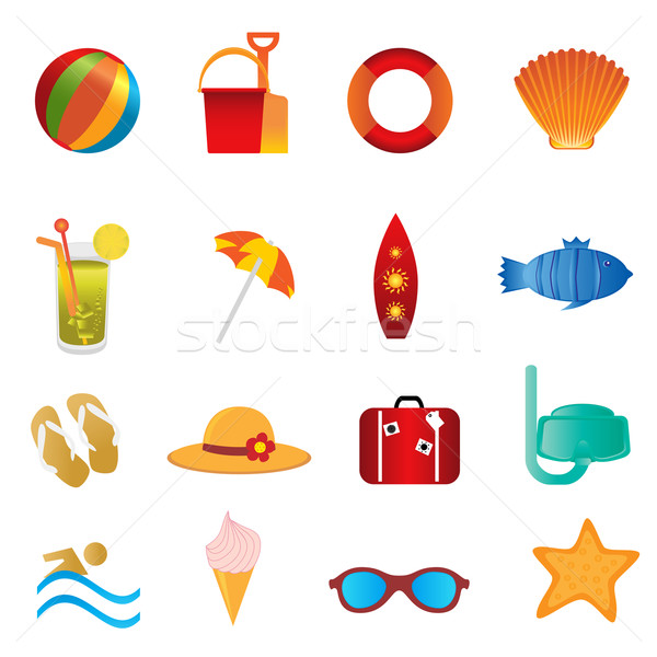 Beach and summer icons on white Stock photo © soleilc