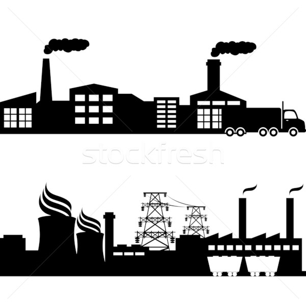 Factory, nuclear plant industrial buildings Stock photo © soleilc
