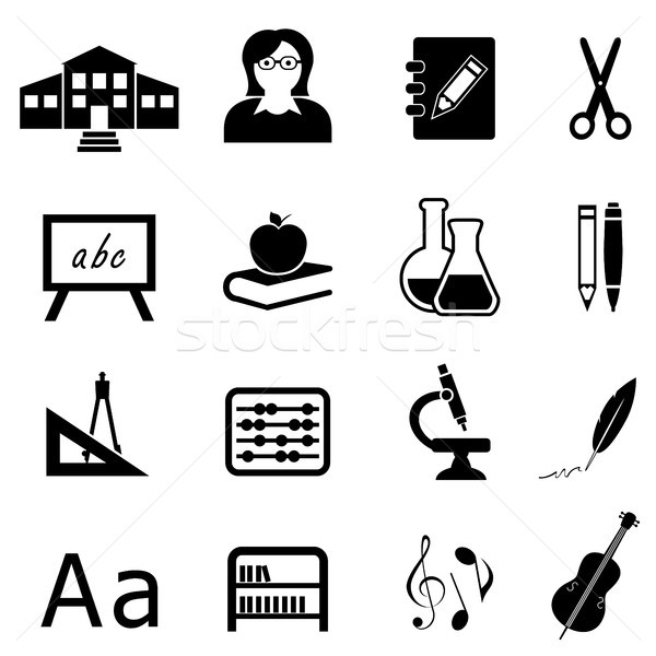Education and back to school icon set Stock photo © soleilc