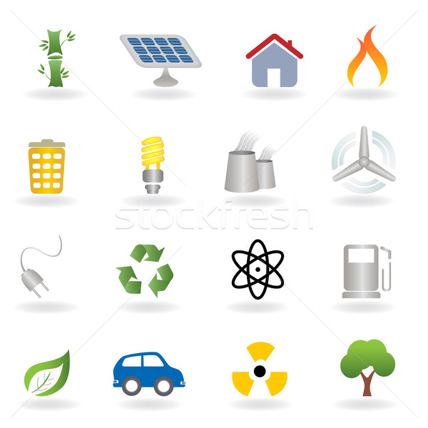 Eco milieu iconen home blad Stockfoto © soleilc