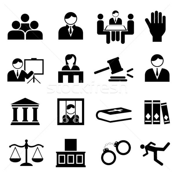 Igazság jogi ikonok ikon gyűjtemény könyv test Stock fotó © soleilc